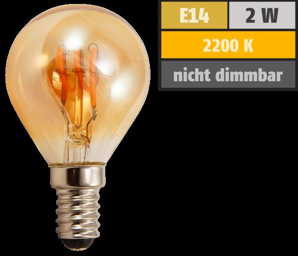 LED Filament Tropfenlampe McShine Retro E14, 2W, 150lm, warmweiß,goldenes Glas