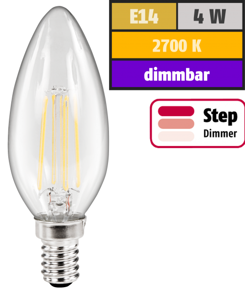 LED Filament Kerzenlampe McShine Filed, E14, 4W, 440lm, warmweiß, step-dimmbar