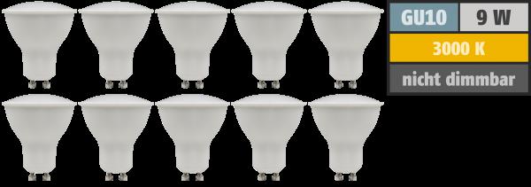 LED-Strahler McShine PV-90 GU10, 9W, 900lm, 120°, 3000K, warmweiß, 10er-Pack