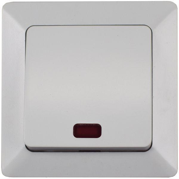 MILOS Kontroll-Schalter mit Lämpchen 250V~/ 10A, inkl. Rahmen, UP, weiß matt