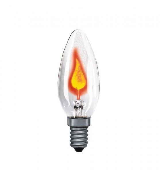 Glühlampe Flackerkerze 3 Watt E14 Klar 230 V