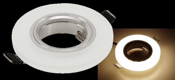 Einbaurahmen McShine LED-39 rund, Ø90mm, Glas, mit LED-Beleuchtung