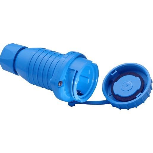 Druckwasserdichte SCHUKO-Kupplung m.Schutzkappe IP68 blau
