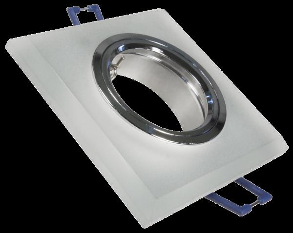 Einbaurahmen McShine Kristallglas eckig, Milchglas, 90x90mm