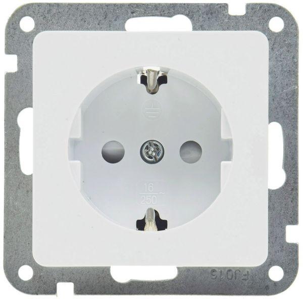 DELPHI Schutzkontakt-Steckdose, weiß 250V~/ 16A, Klemmanschluss, OHNE Rahmen