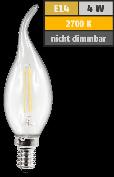 LED Filament Kerzenlampe Windstoß McShine, E14, 4W, 470lm, warmweiß, klar