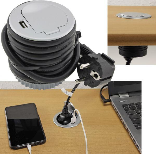 Schreibtisch-Einbausteckdose + USB Schutzkontakt Steckdosen 16A, USB 2,4A