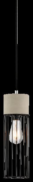 Hängeleuchte mit Schirm, Metall und Beton, E27, Ø 120mm