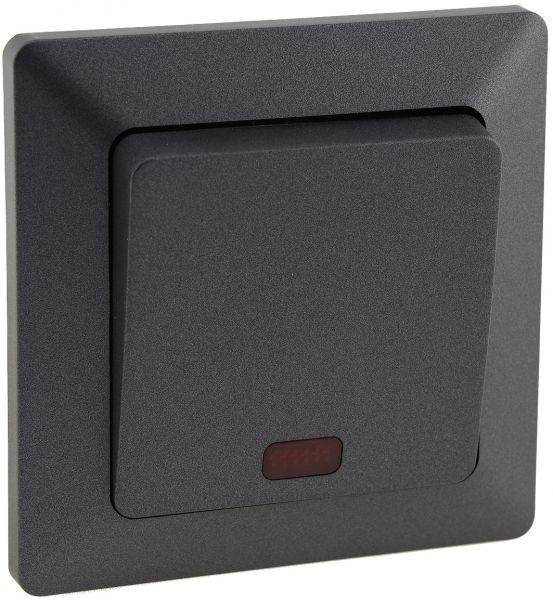 MILOS Kontroll-Schalter mit Lämpchen 250V~/ 10A, inkl. Rahmen, UP, Anthrazit