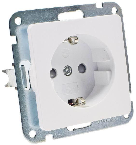 MILOS Schutzkontakt-Steckdose, weiß matt 250V~/ 16A, OHNE Rahmen, Klemmanschluss