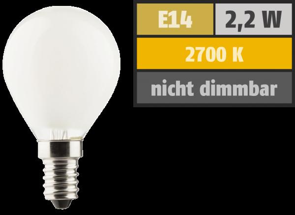 LED Filament Tropfenlampe, E14, 2,2W, 250lm, 2700K, warmweiß, matt
