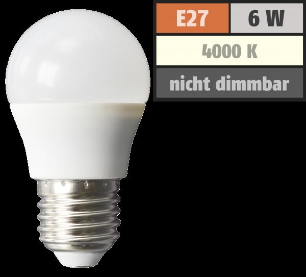 LED Tropfenlampe McShine, E27, 6W, 480lm, 160°, 4000K, neutralweiß, Ø45x78mm