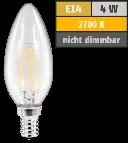 LED Filament Kerzenlampe McShine Filed, E14, 4W, 470 lm, warmweiß, klar