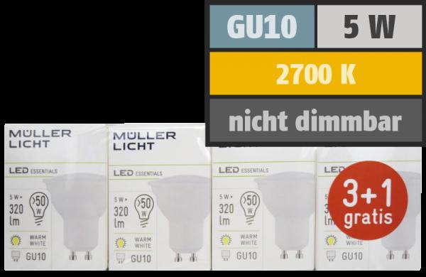 LED-Strahler, GU10, 5W, 320lm, 2700K, warmweiß, 3+1 Set