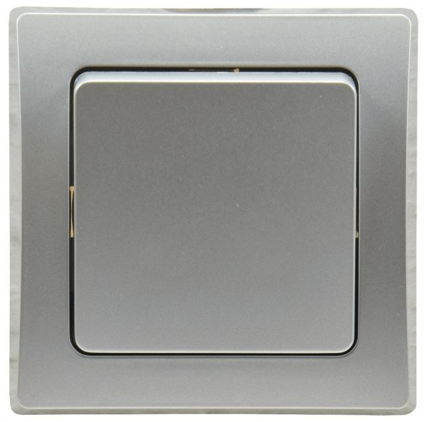 DELPHI Kreuzschalter 250V~/ 10A, inkl. Rahmen, UP, silber