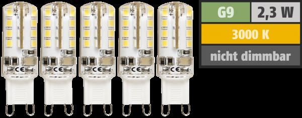 LED-Stiftsockellampe McShine Silicia, G9, 2,3W, 180 lm, warmweiß, 5er-Pack