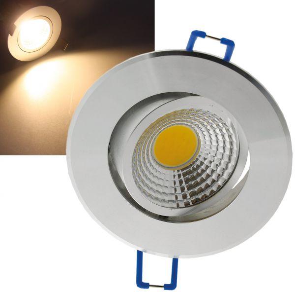 "LED-Einbauleuchte ""COB-3"", 3W, 250lm ALU, 3000K, 95°, Ø85xT47mm, Rahmen chrom"