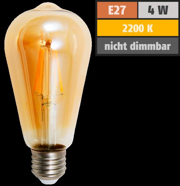 LED Filament Glühlampe McShine Retro E27, 4W, 400lm, warmweiß, goldenes Glas