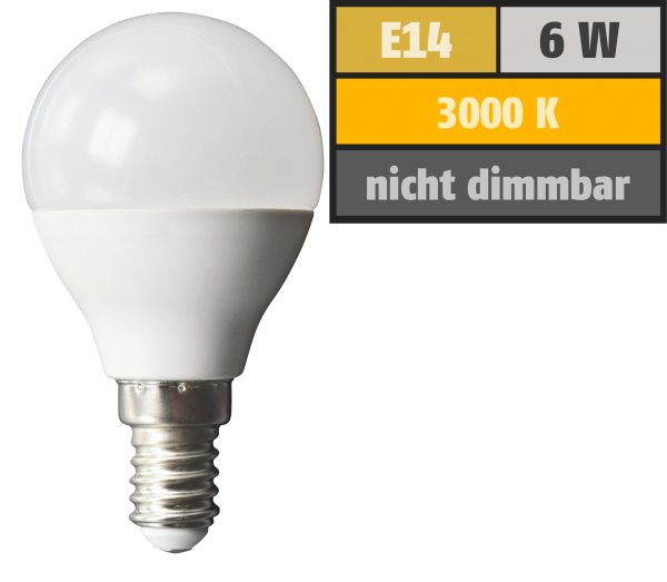 LED Tropfenlampe McShine, E14, 6W, 480lm, 160°, 3000K, warmweiß, Ø45x78mm