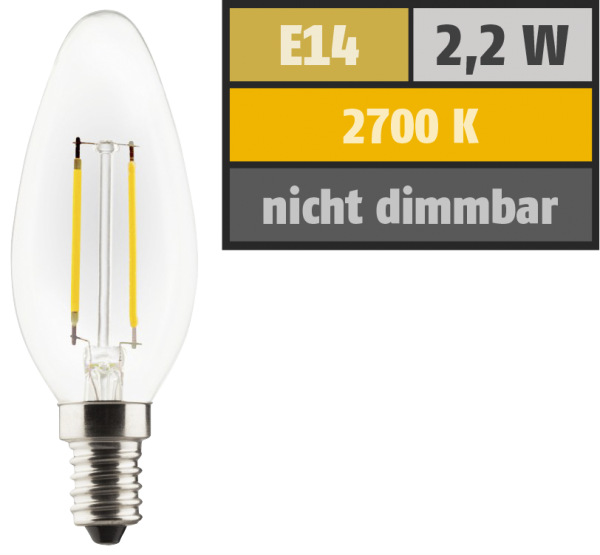 LED Filament Kerzenlampe, E14, 2,2W, 250lm, 2700K, warmweiß