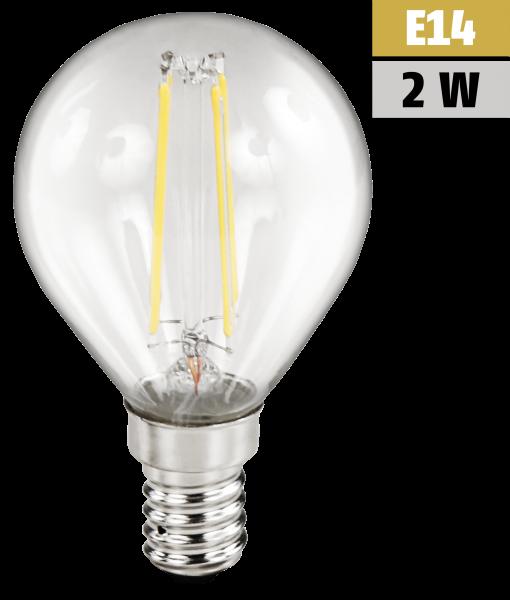 LED Filament Tropfenlampe McShine Filed, E14, 2W, 200 lm, warmweiß, klar