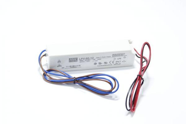 Meanwell LED Trafo 12 Volt 5A mit 60 Watt und Schutzklasse IP67