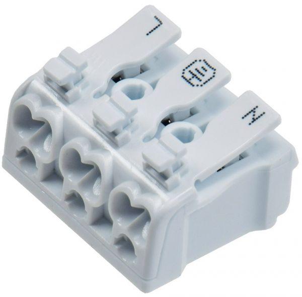 Lüsterklemme, 3-polig mit Hebel 0,75-2,5mm², max. 16A