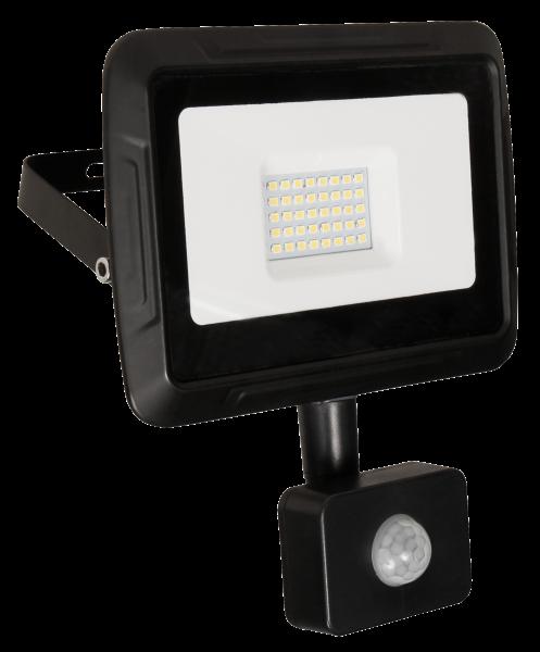 LED-Außenstrahler McShine Super-Slim 30W, 2400lm, 4000K, IP44, Bewegungsmelder