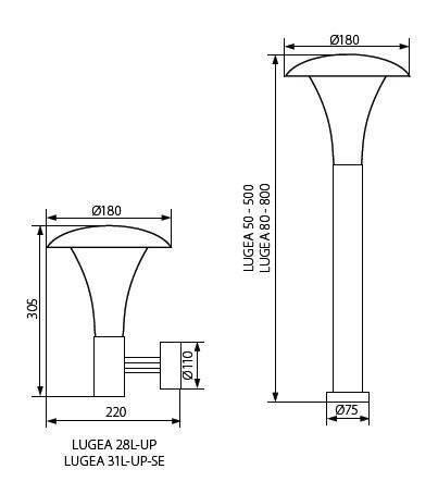 Moderne Gartenleuchte 80 cm Höhe E27 Fassung IP44