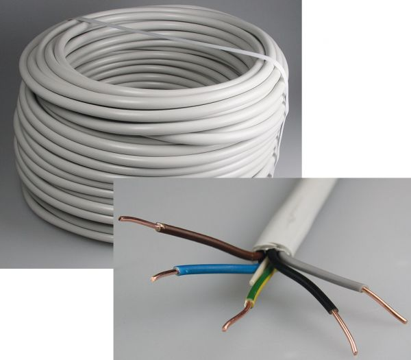 Kabel 100 Meter Mantelleitung Eca NYM-J 5x2,5 RG100m grau