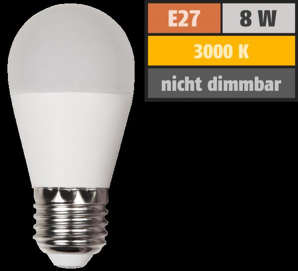 LED Tropfenlampe McShine, E27, 8W, 600lm, 160°, 3000K, warmweiß, Ø45x88mm