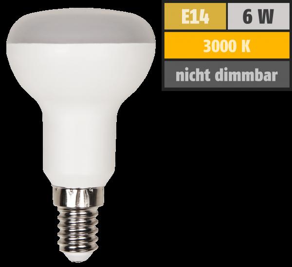 LED-Reflektorstrahler McShine, E14, R50, 6W, 480lm, 120°, 3000K, warmweiß