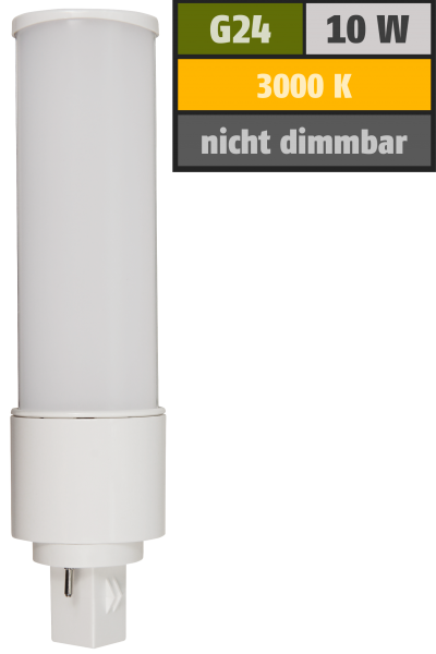 LED-Strahler McShine G24, 10W, 1000lm, 120°, Ø41x164mm, warmweiß
