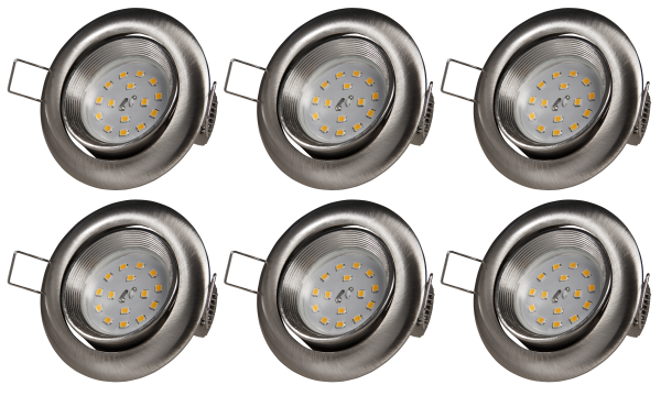 LED Einbauleuchte McShine intense 5W, 400lm, Edelstahl gebürstet, 6er-Pack