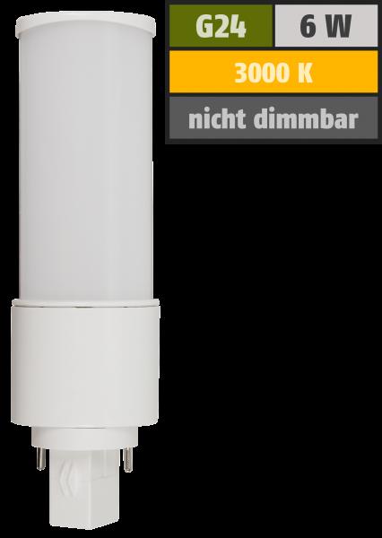 LED-Strahler McShine G24, 6W, 600lm, 120°, Ø41x139mm, warmweiß