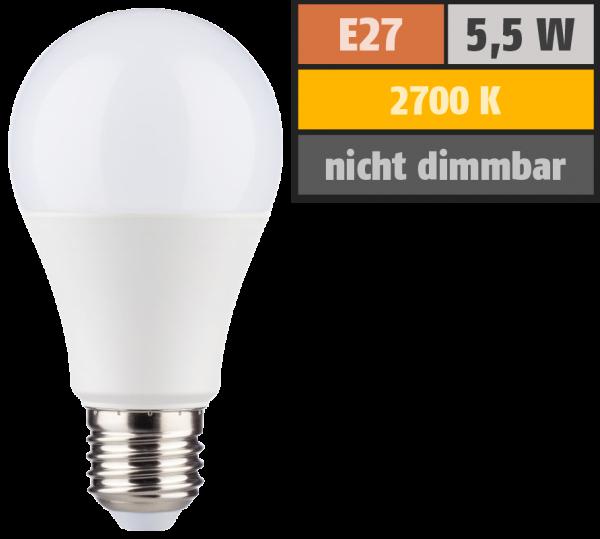 LED Glühlampe E27, 5,5W, 470lm, 2700K, warmweiß