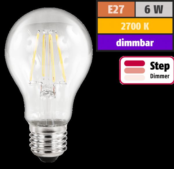 LED Filament Glühlampe McShine Filed, E27, 6W, 630lm, warmweiß, step-dimmbar