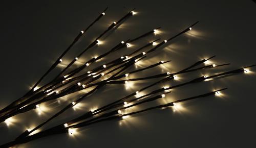 LED Gartenspieß Zweige 3 Stück verbunden IP44 mit 60 LED's Lichtfarbe Warmweiß