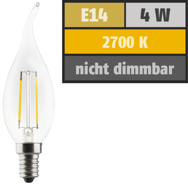 LED Filament Kerzenlampe Windstoß, E14, 4W, 470lm, 2700K, warmweiß