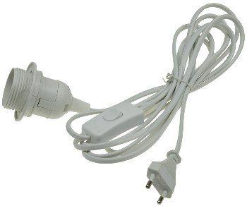 Netzkabel mit Schalter und E27 Fassung 1,4m + 2m lang, weiß