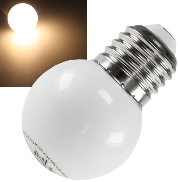 LED Tropfenlampe E27, 40mm Ø, warmweiß 9 SMD LEDs, 3000k, 30lm, 120°, 230V/0,4W