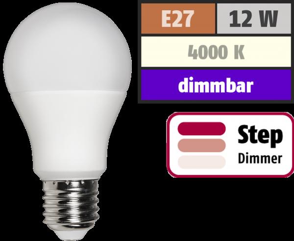 LED Glühlampe McShine, E27, 12W, 1.055 lm, 4000K, neutralweiß, step dimmbar 100/50/10%