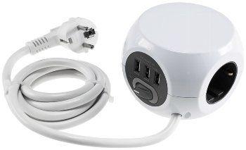 Steckdosen-Kubus 3x Schutzk + 3x USB 1,4m Zuleitung, Ein-/Aus-Schalter