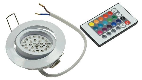 "LED-Einbauleuchte ""Flat-30 RGB"" 80x30mm, 3W, weiß, mit FB"