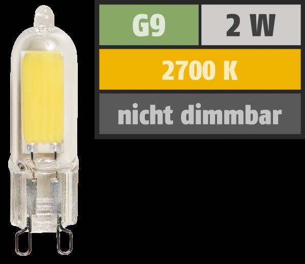 LED-Stiftsockellampe McShine, G9, 2W, 220lm, warmweiß
