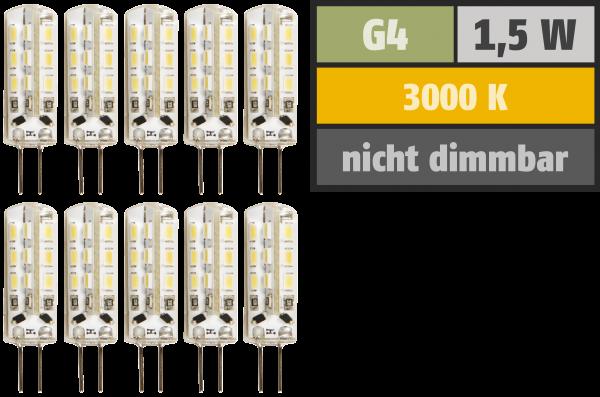 LED-Stiftsockellampe McShine Silicia, G4, 1,5W, 120lm, warmweiß, 10er-Pack