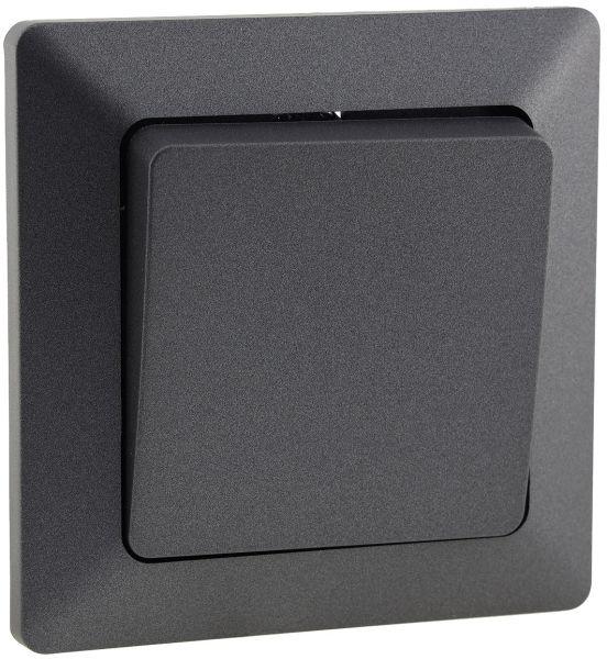 MILOS Taster, Anthrazit 0-250V~/ 10A, inkl. Rahmen, UP