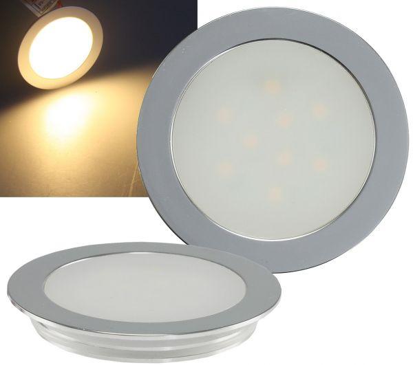 "LED Einbauleuchte ""EBL Slim WW"" IP67, 9 LEDs, Alu matt, warmweiß, Ø55mm"
