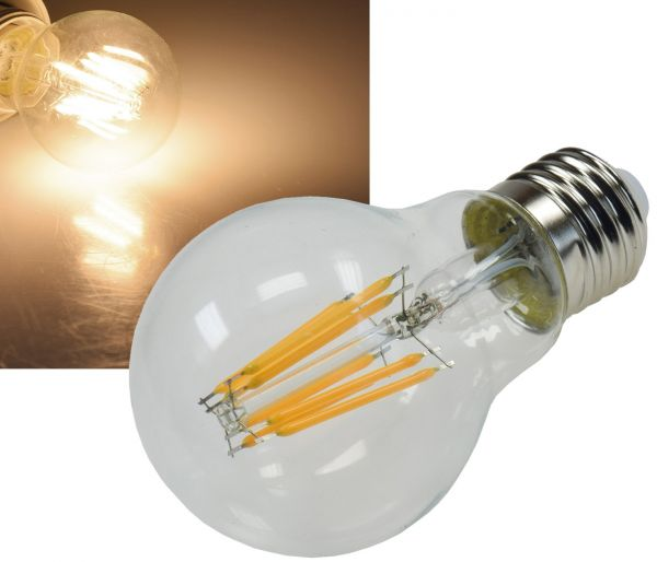 "LED Glühlampe E27 ""Filament G60k"" klar 3000k, 860lm, 230V / 8W, warmweiß"