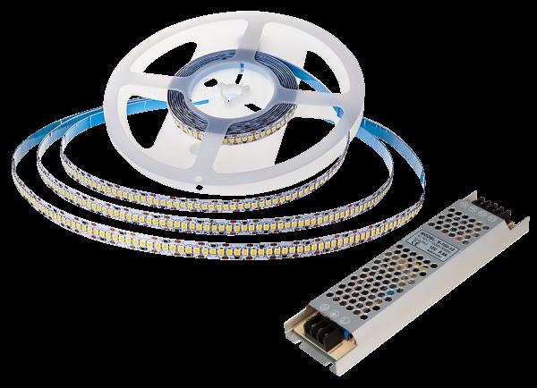 LED-Stripe SET, 240LED/m, 3000lm/m, 18W/m, warmweiß, 5m Rolle, 100W Trafo